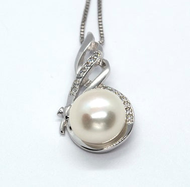 Sterling Silver Freshwater White Pearl Pendant - Alex Aurum