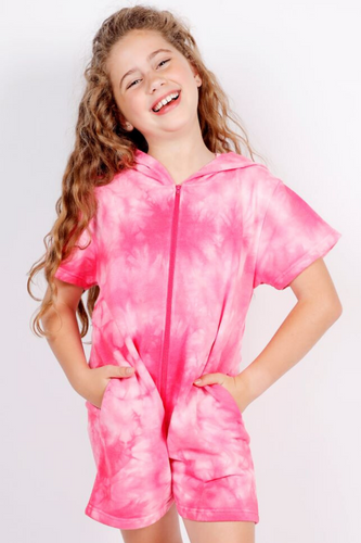Candy Pink Pink Tie Dye Romper
