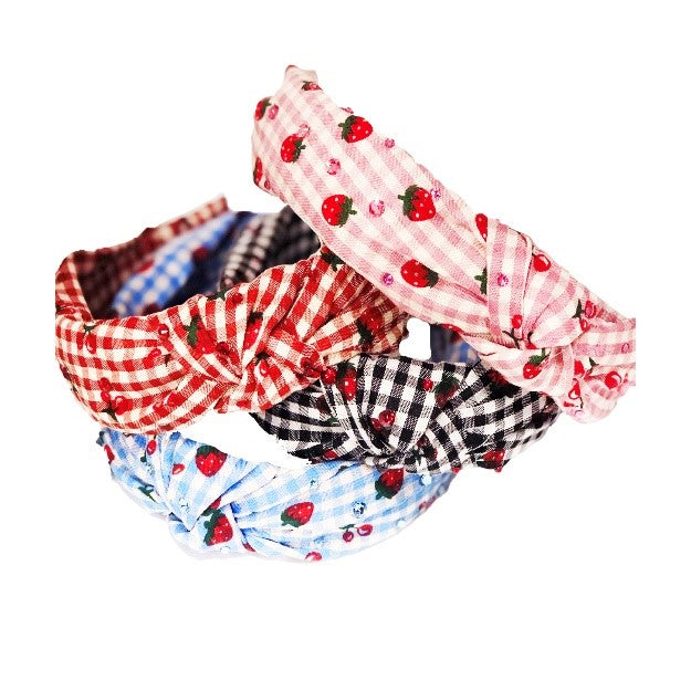 Bari Lynn Strawberry Gingham Knot Headband