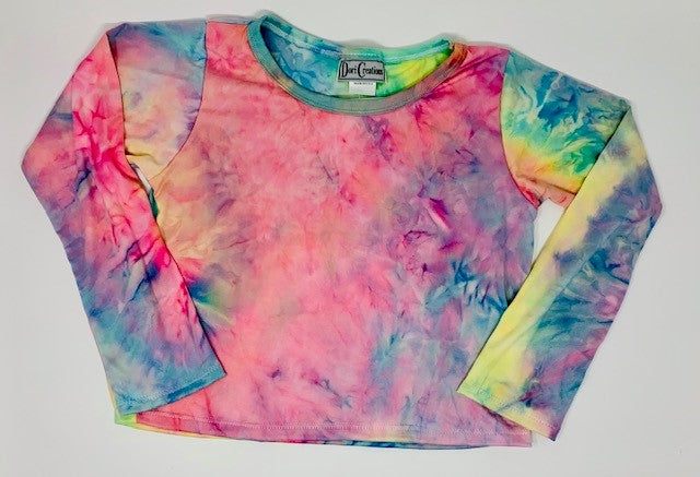 Dori Creations Tie Dye Long Sleeve Boxy Tee - Pink Sunrise