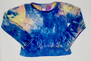 Dori Creations Tie Dye Long Sleeve Boxy Tee - Blue Sunset