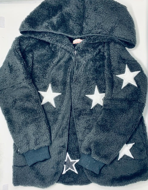Vintage Havana Black Fuzzy Hooded Jacket with Stars