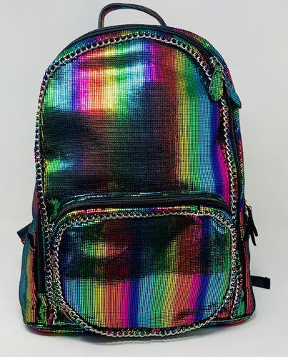 Bari Lynn Backpack - Rainbow Metallic Chain