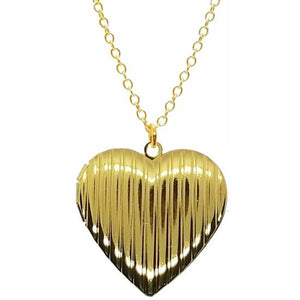 Large Striped Heart Locket