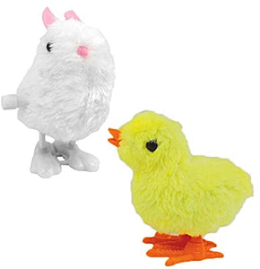 Plush Wind Up Hopping Chicks and Bunnies