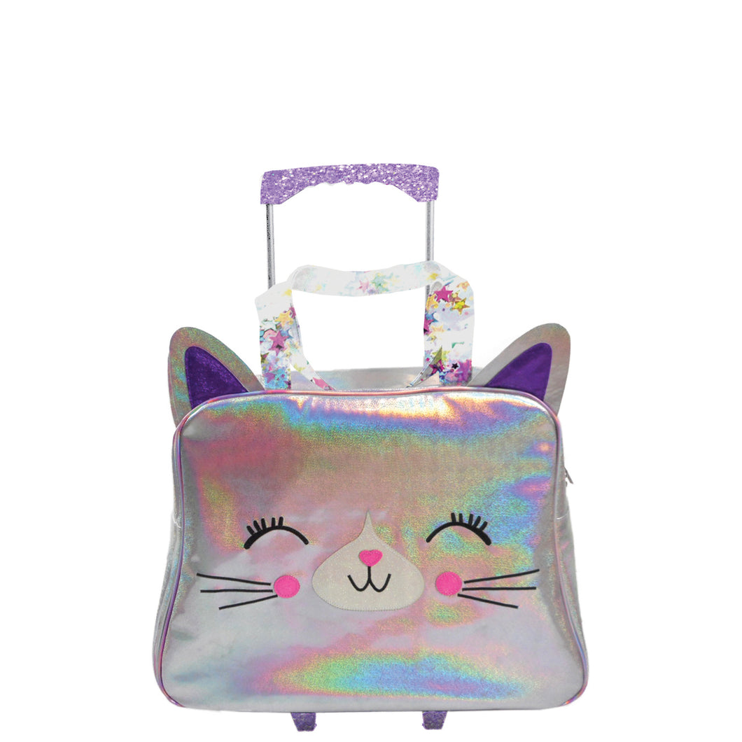 Caticorn Holographic Rolling Bag