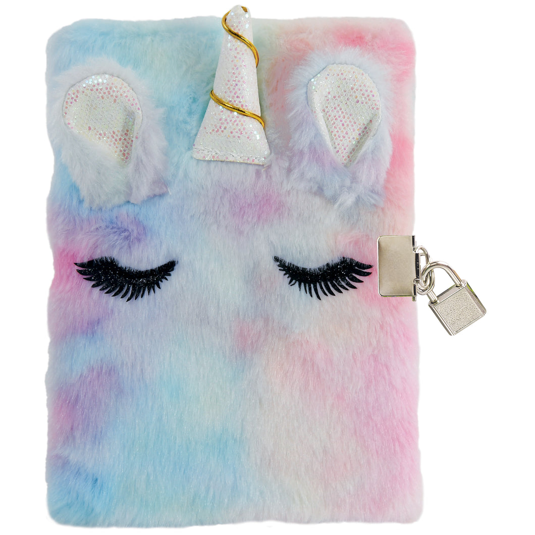 Unicorn Furry Lock and Key Journal