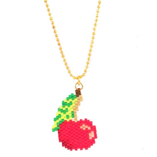 Cherry Bomb Seed Bead Necklace