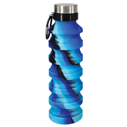 Blue & Black Silicone Collapsible Waterbottle