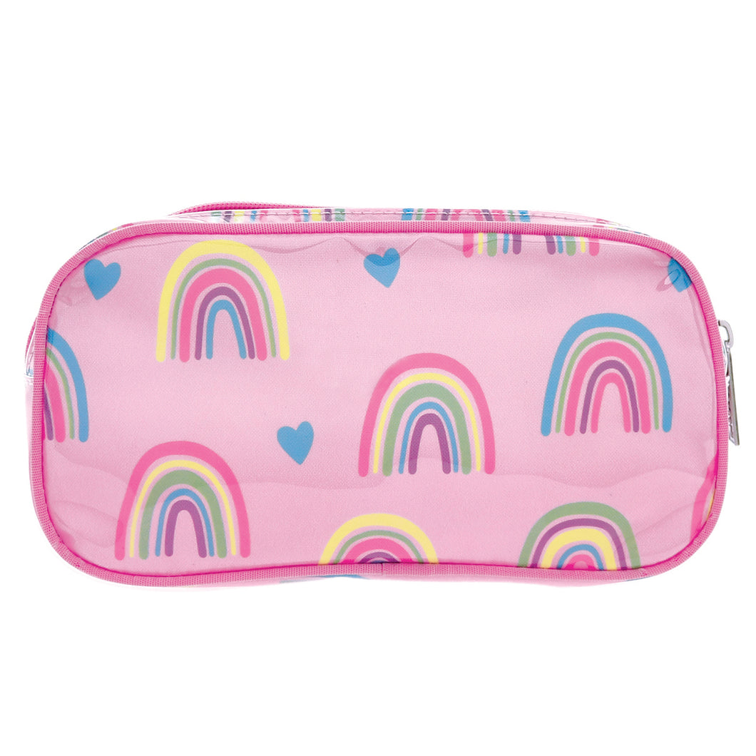 Rainbow and Hearts Cosmetic Bag
