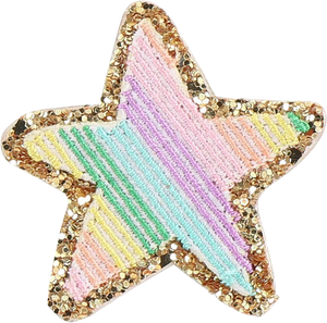 Rainbow Glitter Star Patch