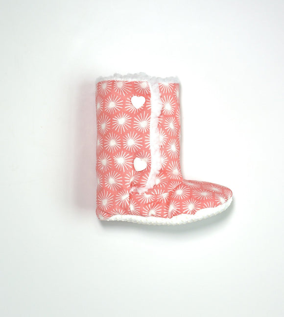 blessons boutique, ocean springs boutique, pink, baby, baby boots, organic cotton, grip bottom, children's clothing, children's shoes