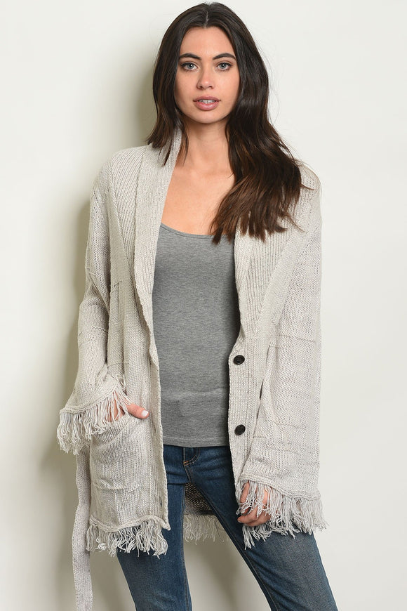 gray sweater jacket, grey sweater jacket, oatmeal sweater jacket, gray cardigan, grey cardigan, oatmeal cardigan, jacket with buttons, wrap jacket, fringe detail, blessons boutique, ocean springs ms, ocean springs ms boutique, downtown ocean springs ms shopping