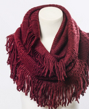 infinity scarf, fringe, winter fashion, fall fashion, scarf, scarves, warm, cozy, blessons boutqiue, downtown shopping, ocean springs ms, red, burgundy