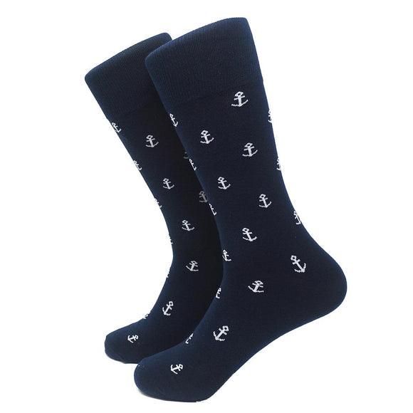 blessons boutique, ocean springs boutique, anchor, socks, white, navy, mid calf, men's socks, accessories