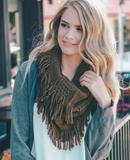 infinity scarf, fringe, winter fashion, fall fashion, scarf, scarves, warm, cozy, blessons boutqiue, downtown shopping, ocean springs ms, olive, olive green, army green