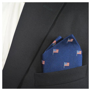Blessons Boutique, Ocean Springs Boutique, pocket square, american flag, patriotic, gift, navy, woven silk, accessories, men's clothing