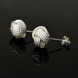 Sterling Silver Love Knot Button Earrings
