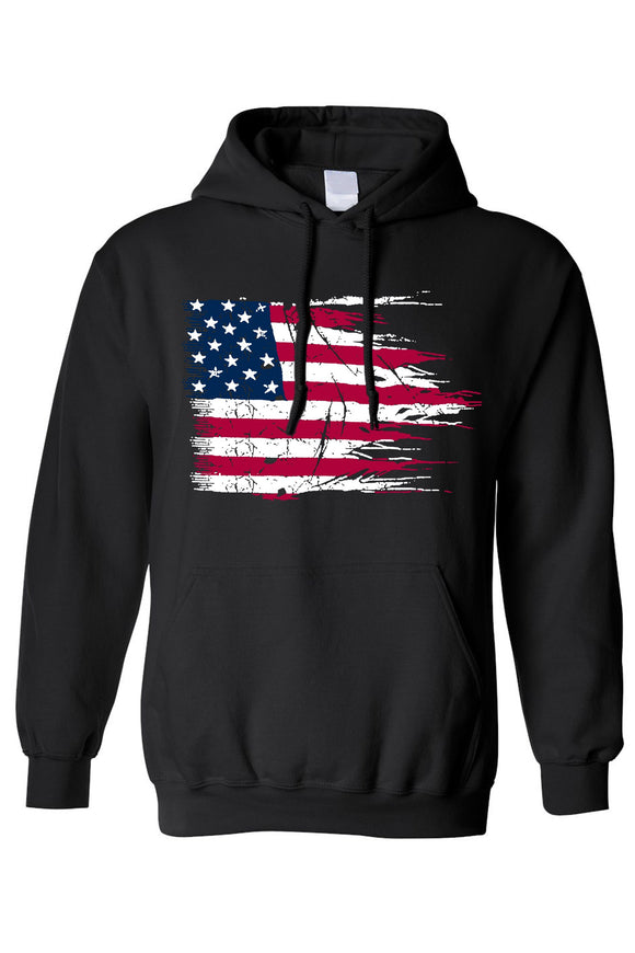 Blessons Boutique, Ocean Springs Boutique, hoodie, american flag, men's clothing, women's clothing,pullover, battle ripped USA flag, black
