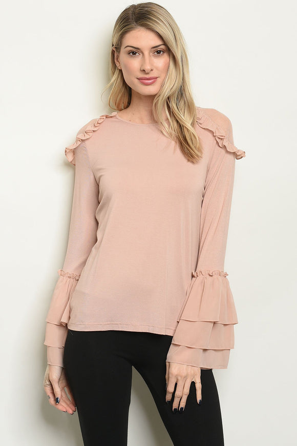 taupe, exposed shoulders, ruffles, bell sleeves, long sleeves, blouse, women's clothing, women's top, apparel, blessons boutique, downtown shopping, ocean springs ms, feminine blouse, classic shirt