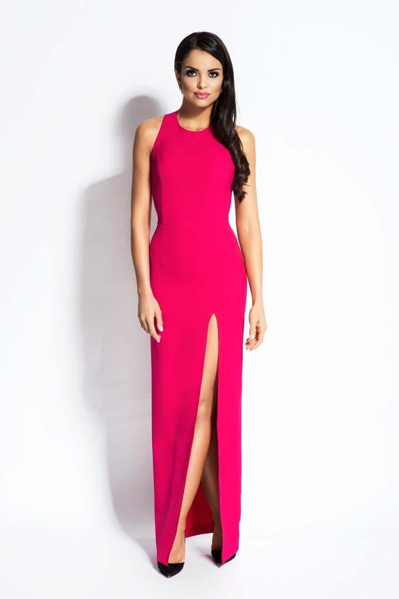 blessons boutique, ocean springs boutique, fuchsia, evening, dress, dresses, women's clothing, women's dresses, ball, gown, high slit, pink