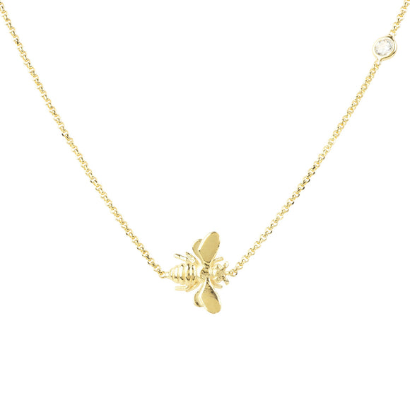queen bee jewelry, bee jewelry, women's jewelry, women's accessories, yellow gold, dainty jewelry, petite jewelry, fashion jewelry, blessons boutique, ocean springs ms, ocean springs ms boutique, downtown ocean springs ms shopping, necklace