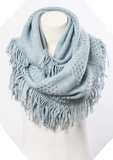 infinity scarf, fringe, winter fashion, fall fashion, scarf, scarves, warm, cozy, blessons boutqiue, downtown shopping, ocean springs ms, baby blue, light blue