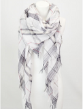 Blessons Boutique, Ocean Springs Boutique, scarf, plaid, white, accessories, scarves
