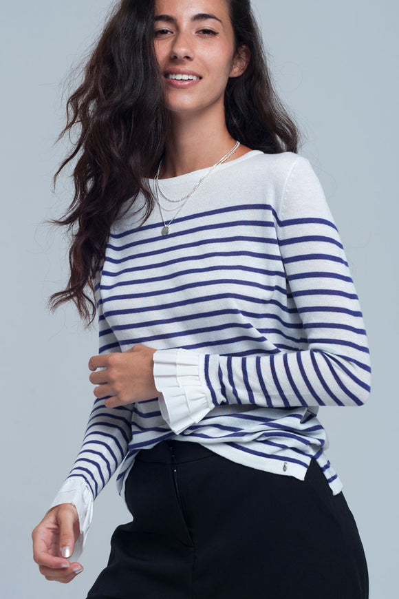 purple, white, stripped shirt, women's clothing, women's tops, long sleeve, bell sleeve, bow, asymmetric, southern charm, southern chic, winter, fall, flirty, blessons boutqiue, downtown shopping, ocean springs ms, day to night fashion