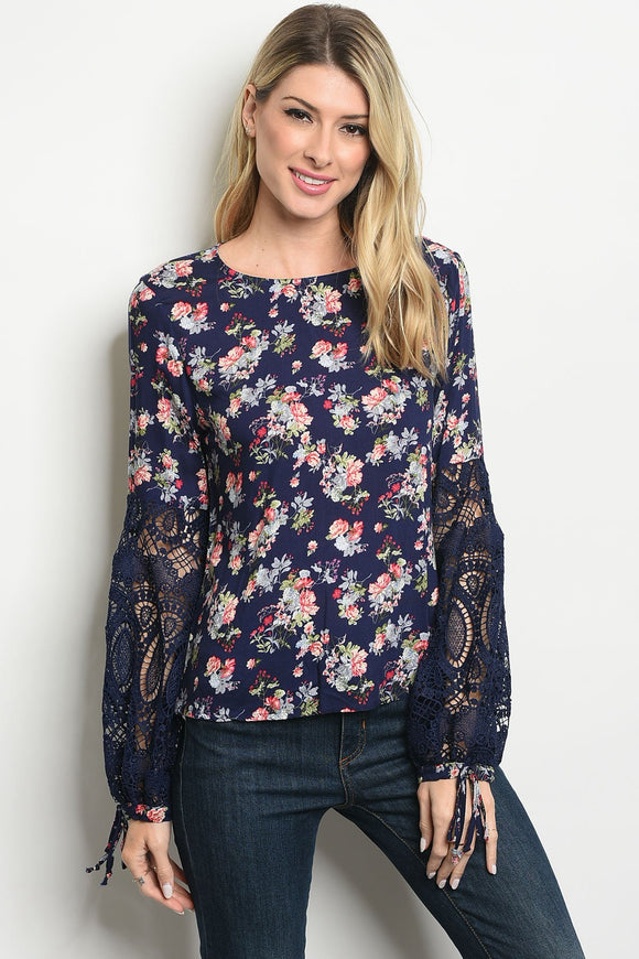 Women's Long Sleeve Floral Blouse, navy blue, lace, crochet sleeve, scoop neck, pink flowers, women's top, women's blouse, women's apparel, women's clothing, casual women's clothing, casual women's top, casual women's blouse
