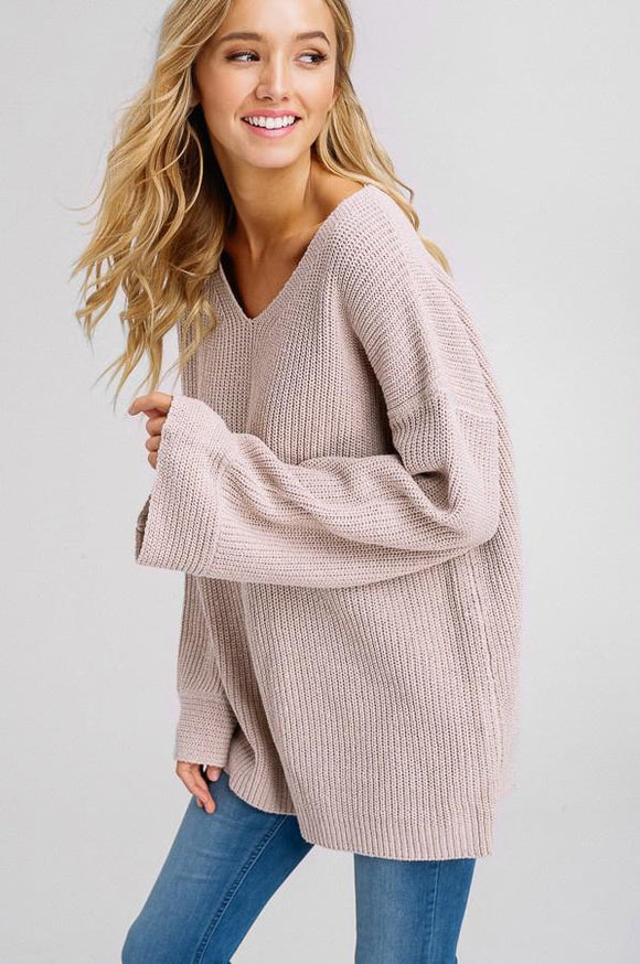 blessons boutique, downtown ocean springs ms shopping, ocean springs ms, Knit, V-Neck, Bell Sleeve, Sweater, long sleeve, fall top, winter top, warm clothing, women's clothing, women's apparel, cute fall top, cute winter top, favorite sweater, mauve