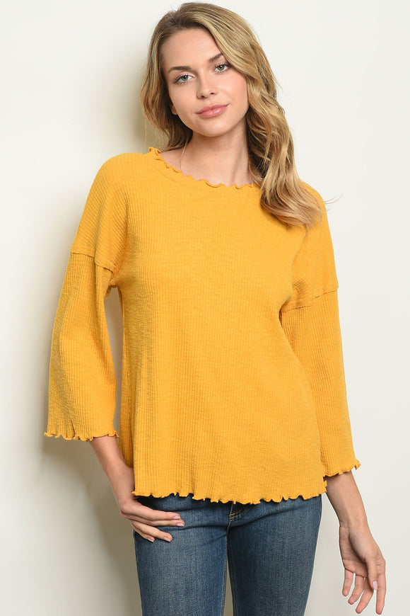 ocean springs boutique, blessons boutique, women's clothing, women's tops, shirt, long sleeve, raw hem, tunic, scoop neck, mustard