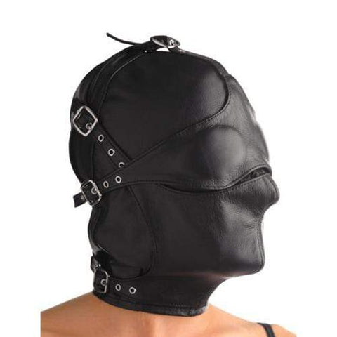Lederen kap met afneembare blinddoek en snuit BDSM Strict Leather