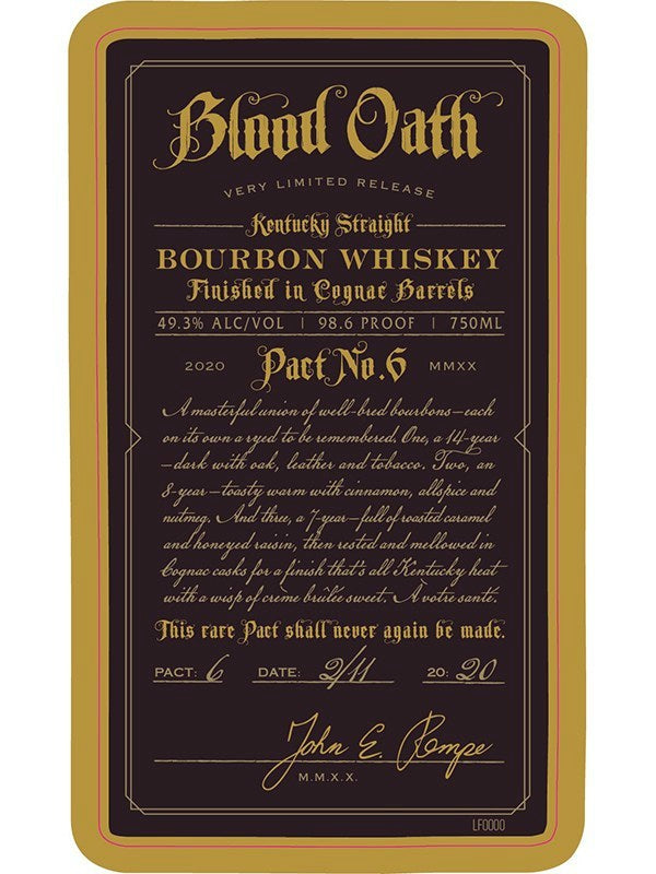Blood Oath Pact No. 6 Bourbon Whiskey - Whiskey - Don's Liquors & Wine - Don's Liquors & Wine
