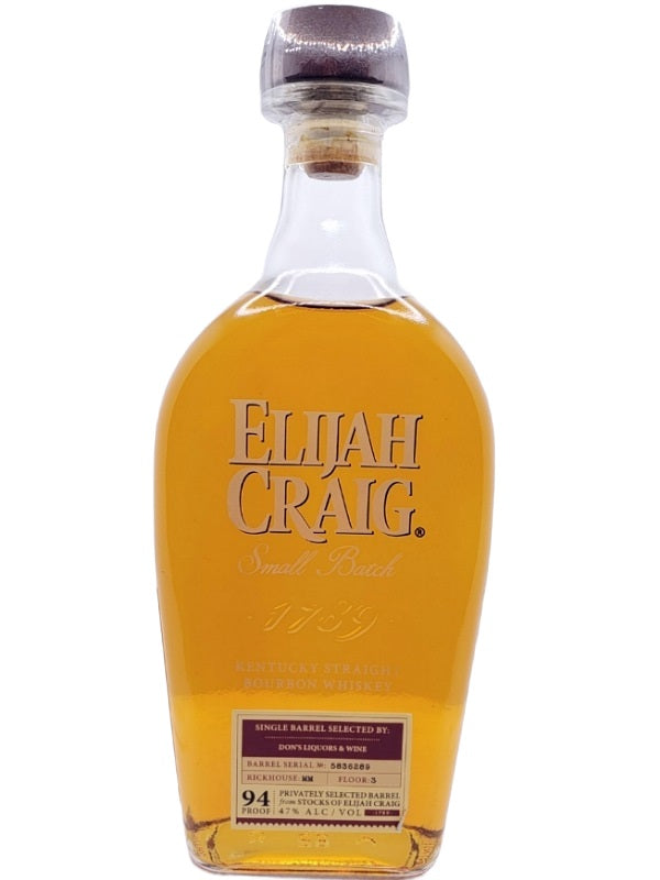 Elijah Craig Small Batch Don's Liquors & Wine Single Barrel