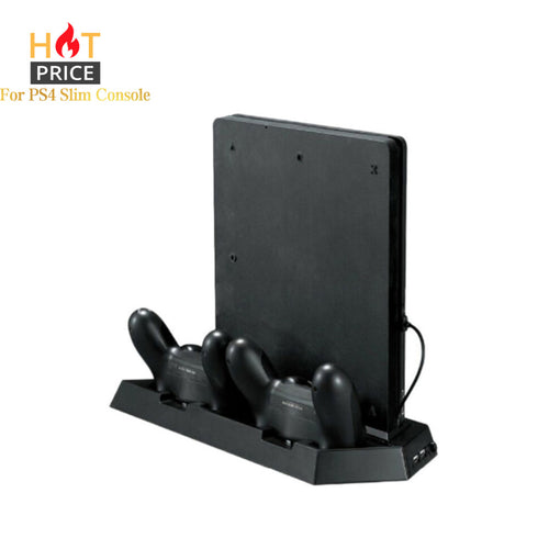 Alloyseed Game Console Stand For PS4 Slim Console Vertical Game Console Stand Dock With Dual Charging Station Dropshipping