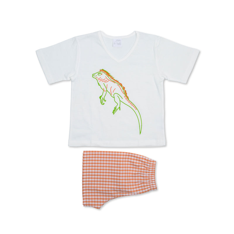 LEON BOYS' PAJAMA SET WHITE WITH ORANGE SHORTS