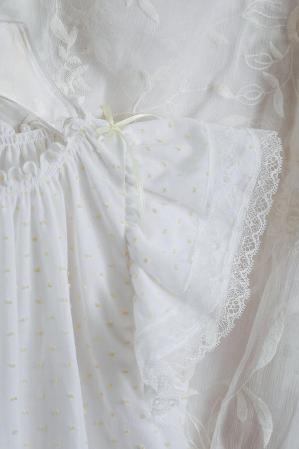 FRANNY GIRLS' COTTON NIGHTDRESS WHITE WITH YELLOW DOTS