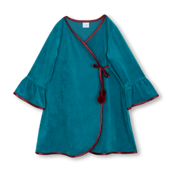 Charming deep emerald Agnia robe keeps your kids cozy and comfortable - AMIKI Children
