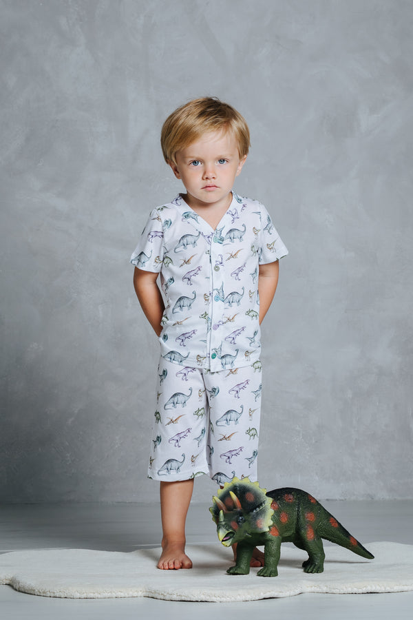 Short-sleeved boys' pyjama set Walter with dinosaur print