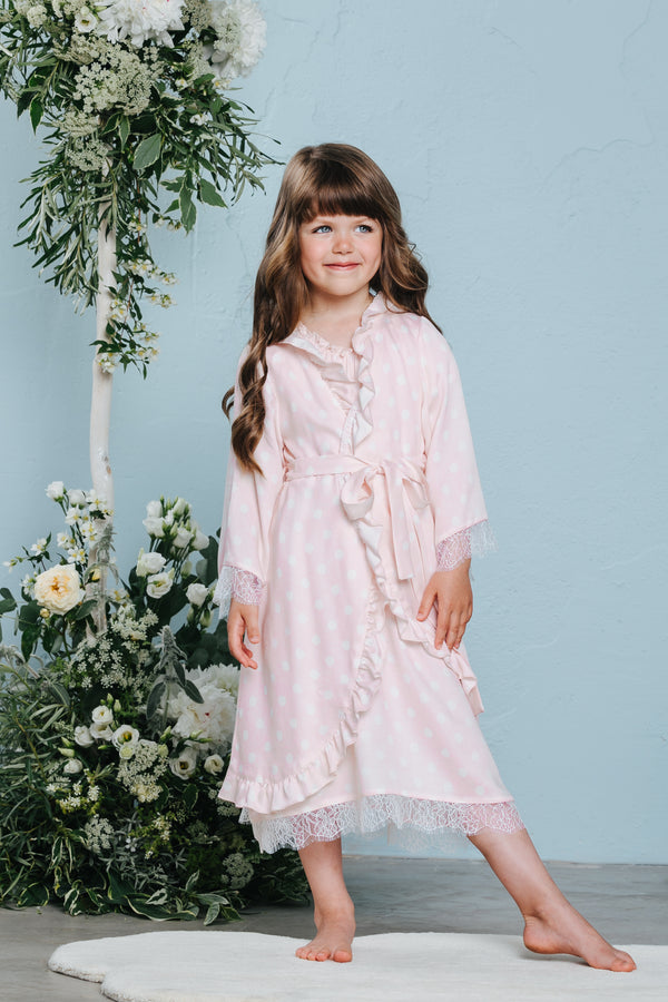 Charming children's pink dressing gown Sofia