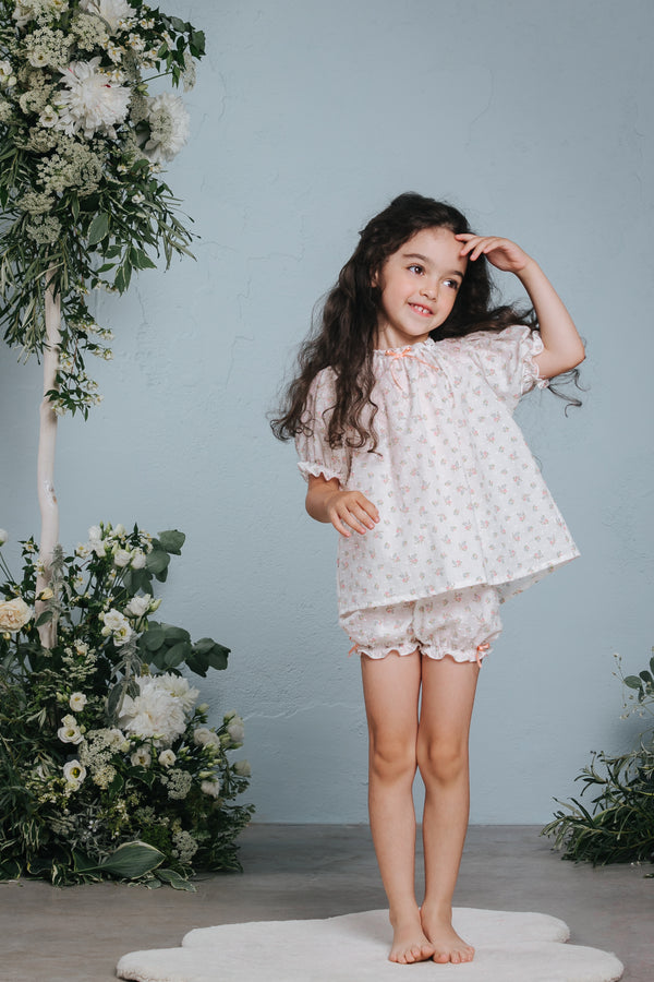 Vintage-inspired girls' cotton pyjama set Nathalie