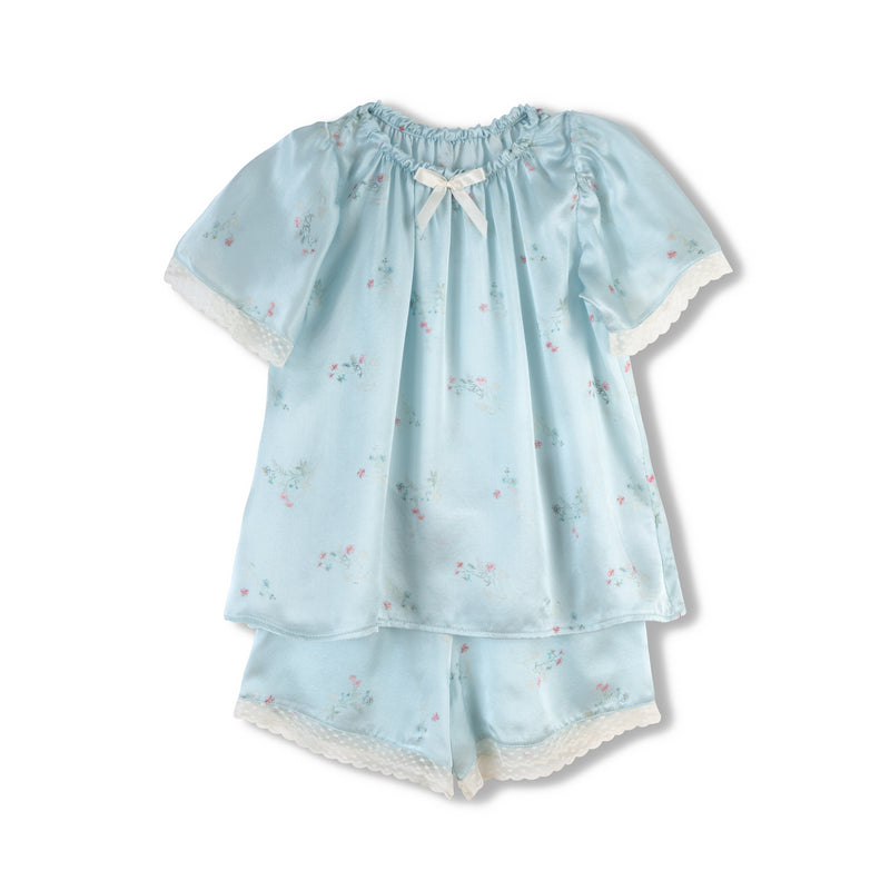 Graceful children's floral blue pyjama set Polina  - silk