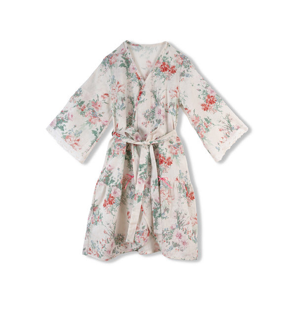 MILA KIDS' LINEN DRESSING GOWN, PINK FLOWERS