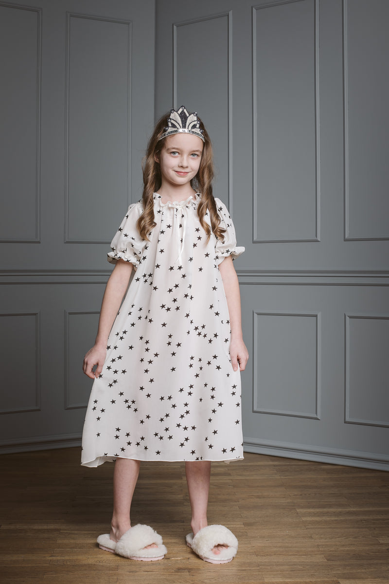 Girls' silk nightgown - Luxurious girls silk nightdress - quality sleepwear for kids - AMIKI Children
