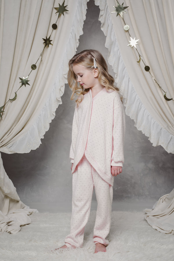 DINA GIRLS' LOUNGEWEAR CARDIGAN IN PINK