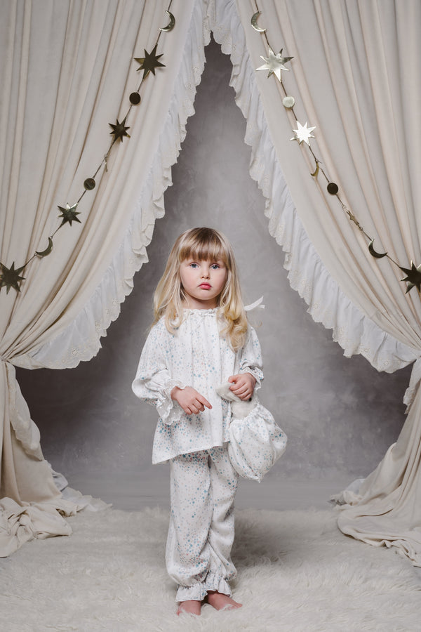 GRACE GIRLS' PYJAMA SET IN WHITE STARS