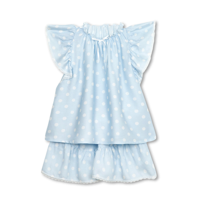 LAURA GIRLS' PYJAMA SET BLUE POLKA DOTS