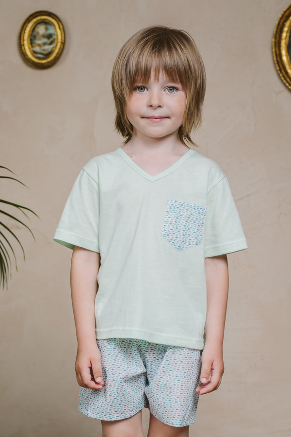 LEON BOYS SHORT PAJAMA SET GREEN FISH