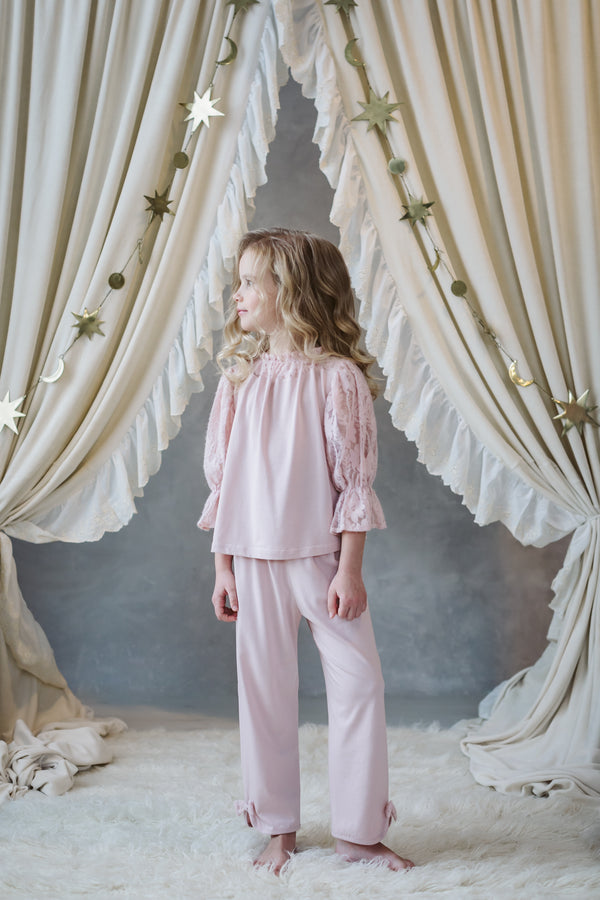 PAMELA GIRLS' PYJAMA SET IN DUSTY PINK